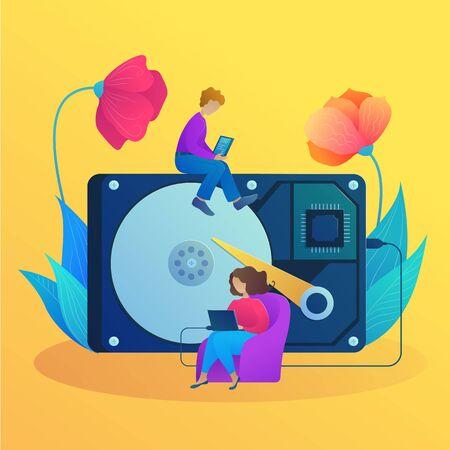 Computer service center banner in cartoon style