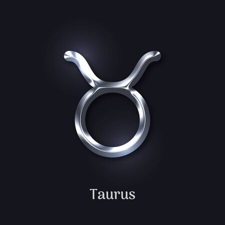 Taurus silver zodiac isolated sign