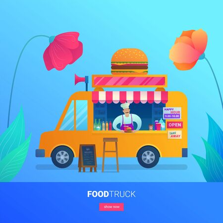 Food truck web banner with flower decoration. Chef in apron and hat holding burger menu. Street food retail with take away fast food. Store on wheels with hamburgers and drinks vector illustration.