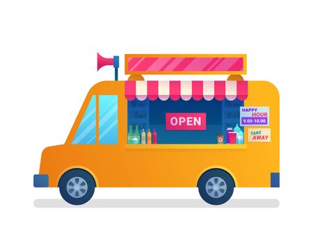 Food truck isolated icon in flat style.