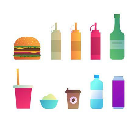 Fast food menu icons set