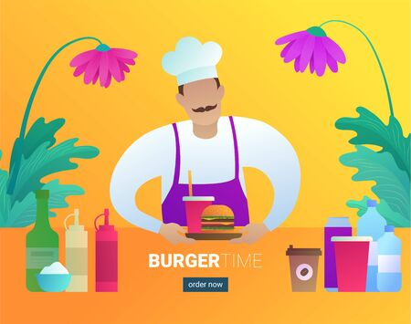 Burger time web banner with restaurant cook Ilustracja