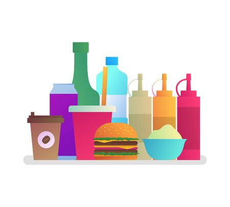 Fast food cafe menu ingredients in flat style Ilustracja