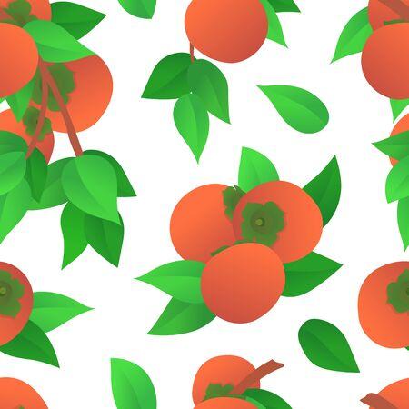 Ripe orange persimmons seamless pattern