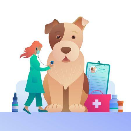 Veterinary clinic advertising in cartoon style.