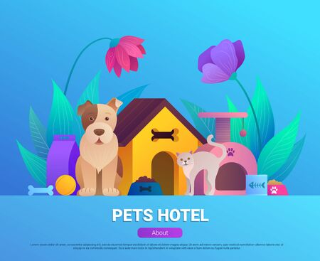 Pets hotel cartoon landing page design.