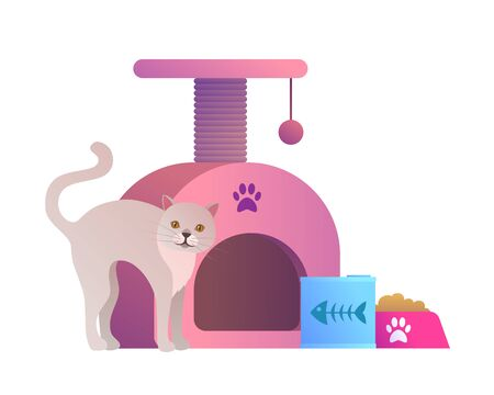Goods for pets icon with funny cat. Stock fotó - 147429818