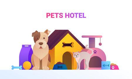 Pets service cartoon banner. Ilustração Vetorial