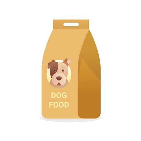 Package of dog food icon in cartoon style. Çizim