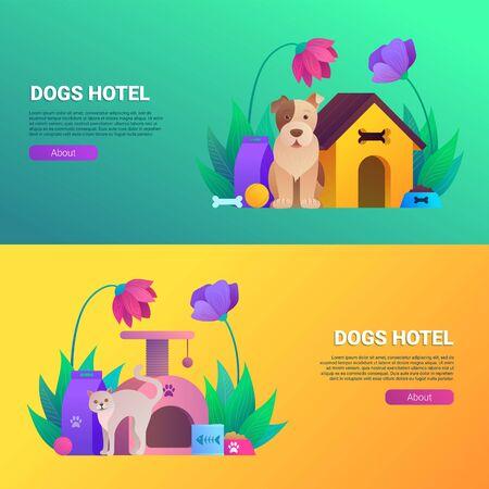 Dogs and cats hotel cartoon horizontal flyers set.