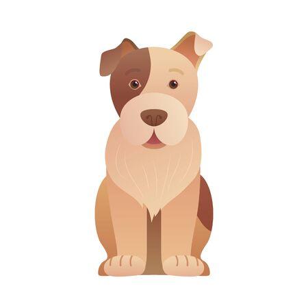 Funny sitting dog icon in cartoon style. Illusztráció