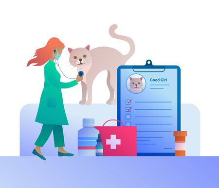 Veterinary check up in vet clinic concept in cartoon style. Female veterinarian examining cat with stethoscope. White cat at medical procedure, pets diagnosis and treatment vector illustration.