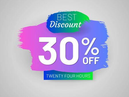 Discount sale tag and paintbrush stroke. 30 percent off banner. Flat gradient design with shadow. Best discount label. Commercial advertisement and holiday shopping. Weekend discount proposition Illusztráció