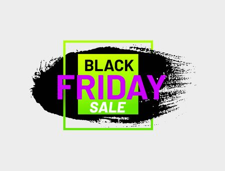 Black Friday sale bright sticker in shape of paintbrush stroke. Modern design advertisement isolated on white background. Promotion and marketing campaign. Seasonal sale event announcement.