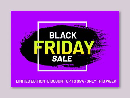 Black Friday sale bright banner. Retail sticker in shape of paintbrush stroke on purple background. Limited edition only this week. Promotion and marketing campaign. Seasonal sale event announcement.
