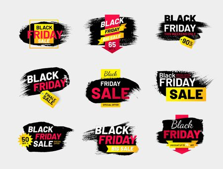 Black Friday sale labels set in shape of paintbrush stroke. Best offer and clearance sale tags. Modern design isolated on white background. Event advertising message. Promotion and marketing campaign. Illusztráció