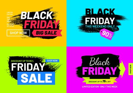 Black Friday sale promotion posters set Illusztráció