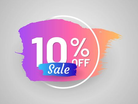 Discount sale tag with round frame and paintbrush stroke. 10 percent off banner. Flat gradient design with shadow. Commercial advertisement and holiday shopping. Weekend discount proposition Illusztráció