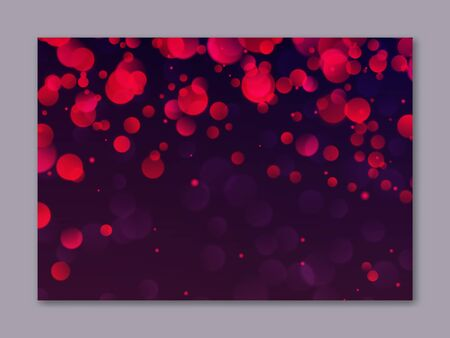 Blurred background with red bokeh lights. Romantic glitter lights backdrop use for night party banners decoration. Abstract defocused wallpaper vector illustration. Festive luminous design