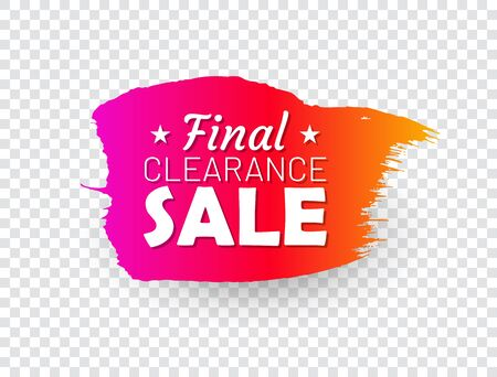 Final clearance sale banner. Sale tag in shape of paintbrush stroke. Flat gradient design with shadow isolated on transparent background. Commercial advertisement and holiday shopping
