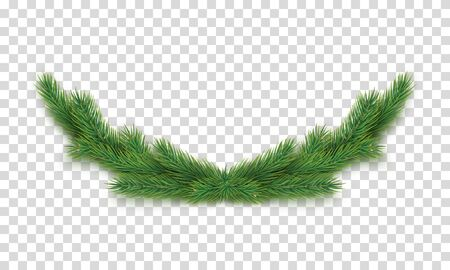 Christmas decoration with fir tree branches isolated on transparent background. Merry Christmas and Happy New Year design element. Realistic 3d composition from evergreen branches vector illustration. Illusztráció