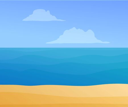 Beautiful ocean coastline with blue sky Illusztráció