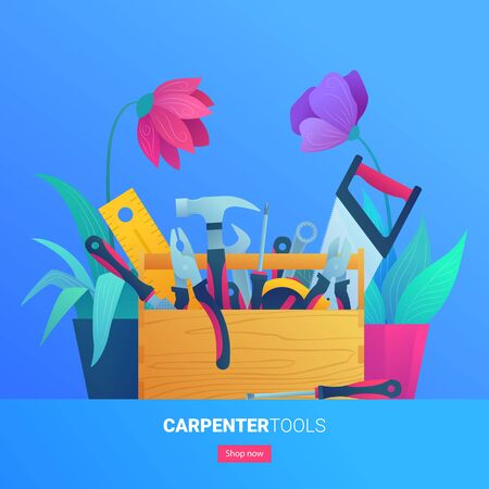 Carpenter tools web banner in cartoon style