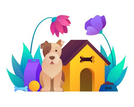 Animal store cartoon composition with sitting dog