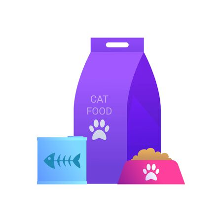 Goods for pets icon with package of cat food.