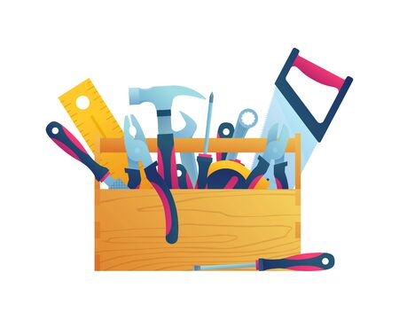 Hand tool kits isolated icon. Hammer, pliers, handsaw, rasp, adjustable spanner, wrench, tape measure and screwdrivers in wooden toolbox. Construction and home renovation vector illustration.