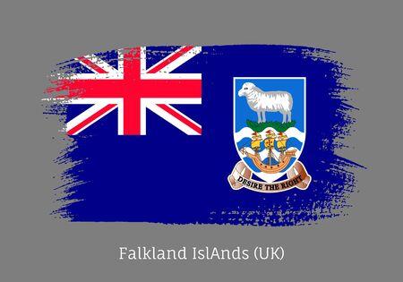 Falkland islands official flag in shape of paintbrush stroke. Falkland islands self-governing british overseas territory national identity symbol. Patriotic design isolated vector illustration.