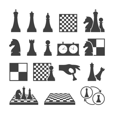 Chess game black icons on white background