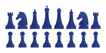 Full set of chess pieces isolated on white Illusztráció