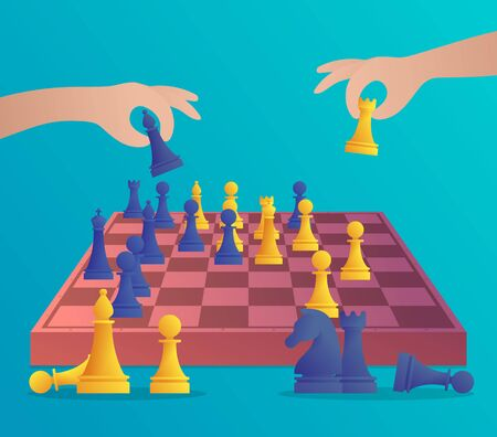 People playing chess banner in cartoon style. Human hands holding chess figures vector illustration. Intellectual duel and tactical battle on chess board. Strategy planning and leadership concept.