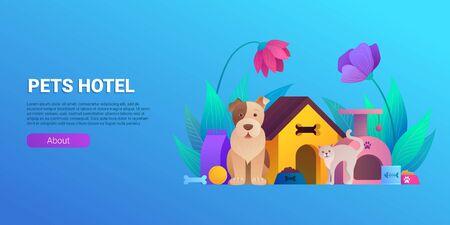 Pets hotel cartoon landing page design. Illusztráció