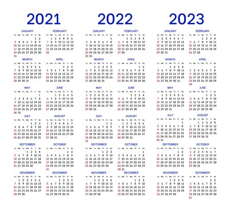 Calendar layouts for 2021, 2022, 2023 years