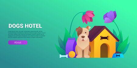 Dogs hotel cartoon horizontal banner.