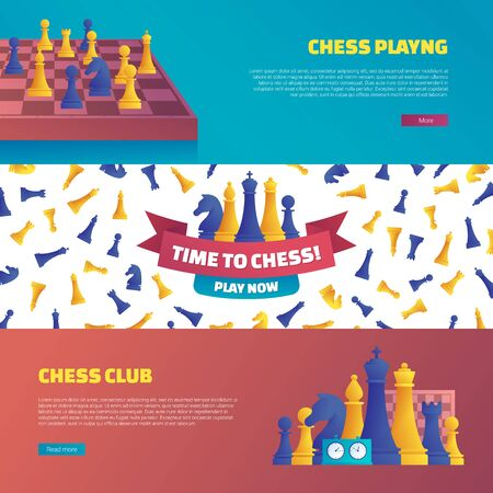 Chess club horizontal flyers set.