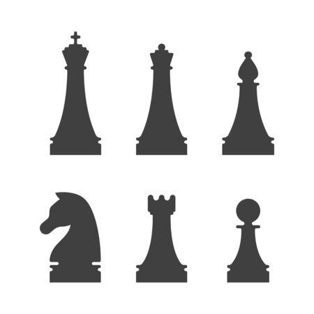 Black chess pieces icons on white background Illusztráció