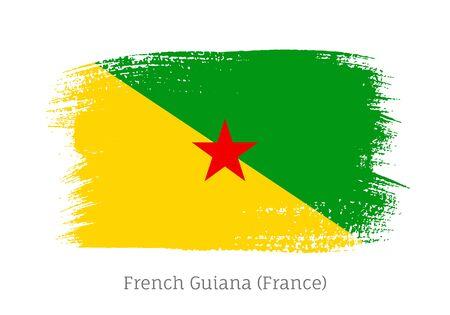 French Guiana official flag in brush stroke shape