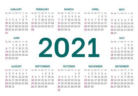 Universal calendar layout for 2021 year Illusztráció
