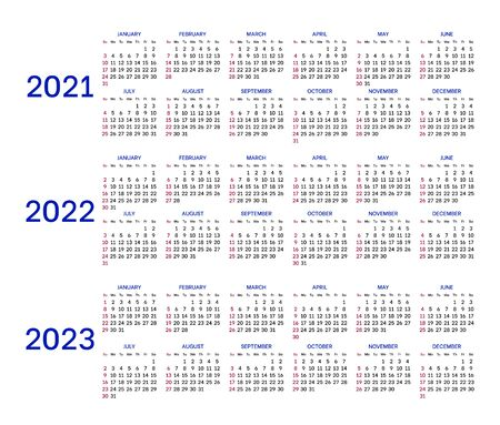 Calendar grid 2021,2022 and 2023.