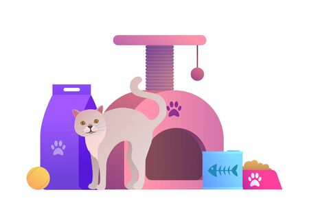 Animal store cartoon composition with cat