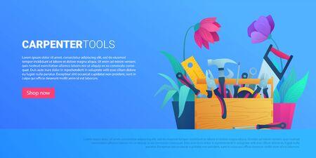 DIY store web banner with carpenter tools Illusztráció