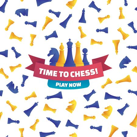 Time to chess, play now poster in cartoon style