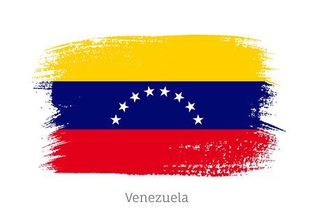 Venezuela republic official flag in shape of paintbrush stroke. Venezuelan national identity symbol for patriotic design. Grunge brush blot vector illustration. Venezuela country nationality sign. Illusztráció