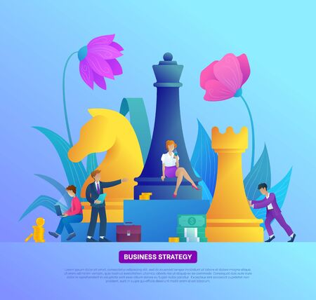 Business strategy banner. Successful teamwork page concept with chess piece. People works and analysis. Effective corporate analysis game for finance success. Flat vector illustration Illusztráció