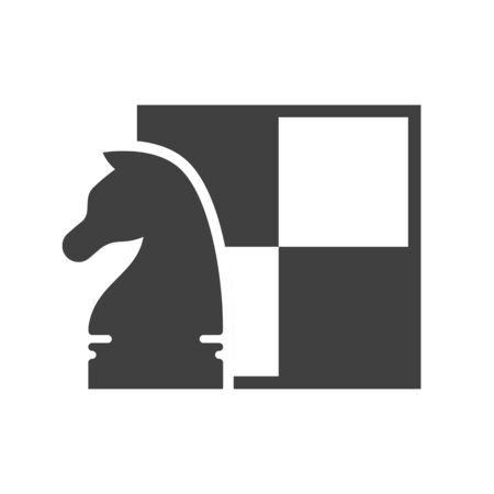 Black and white chess pictogram template. Knight figure on background of chessboard. Chess tournament and professional sport competition symbol. Chess club or school graphic sign vector illustration. Illusztráció