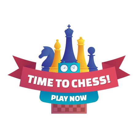 Time to chess, play now isolated sticker. Chess club label design with chess pieces, double chess clock and chessboard. Intellectual duel and tactical battle on chess board vector illustration. Illusztráció