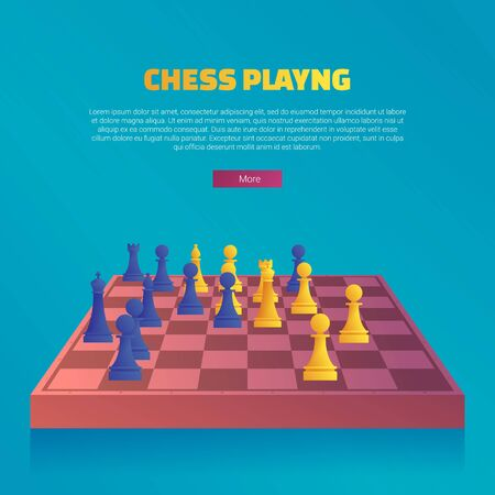 Chess playing web banner template. Chessboard with blue and yellow chess pieces. Chess classes, tournament and camp for players cartoon vector illustration. Hobby and professional sport competition.